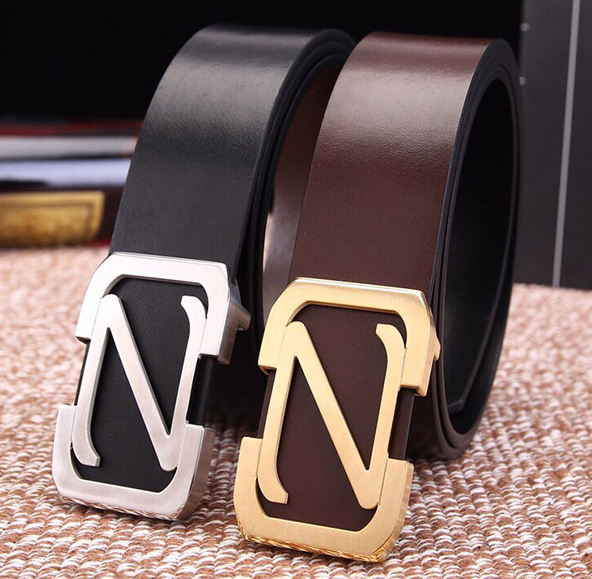 3.8cm Z letter brass buckle first class genuine leather belt