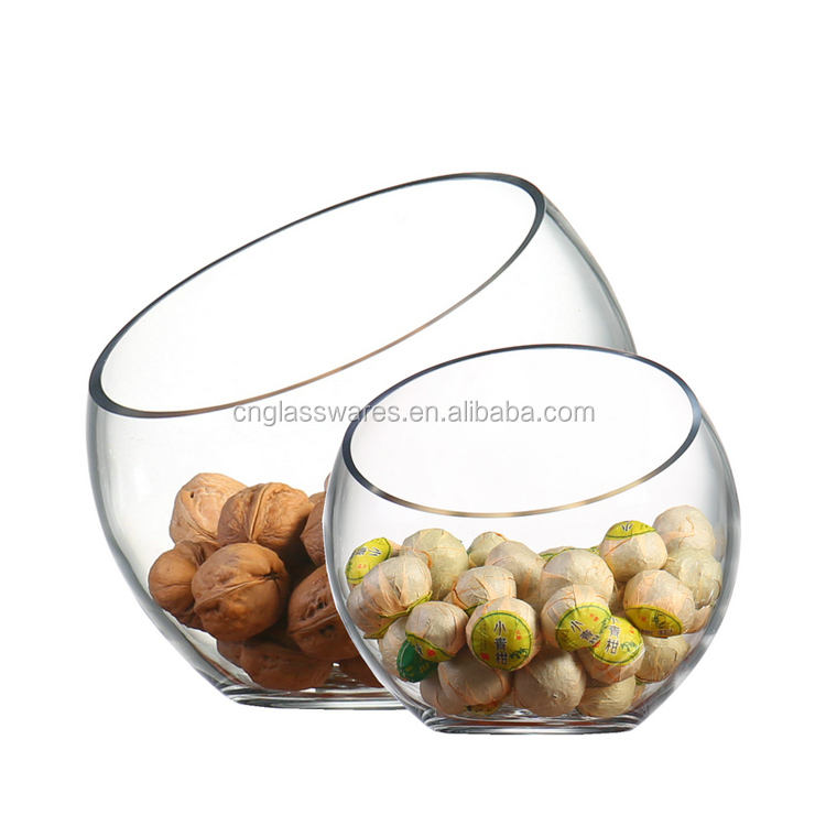 Round Clear Tilt Glass Candy Container Fruit Salad Bowl