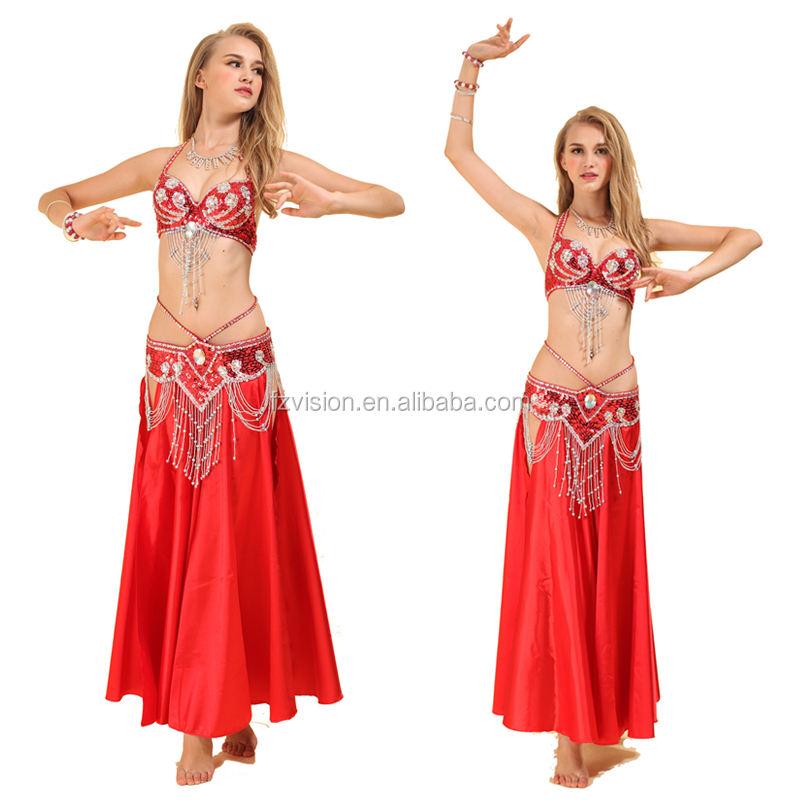 ROYAL SMEELA Ensemble de Costume de Danse du Ventre Soutien-Gorge Ceinture Or Noble V/êtements pour Femmes Danse Ensemble de Soutien-Gorge et Ceinture Costumes Professionnels