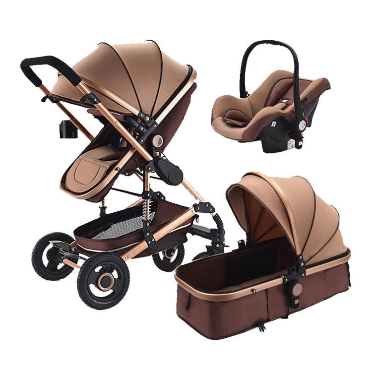 PU Leather Luxury Baby Stroller pram 3 In 1 Travel System Baby Stroller