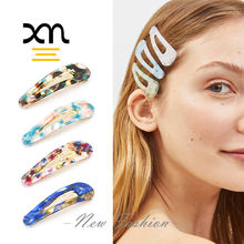 wholesale color hair snap clips tic tac plastic acetate glazed snap hair clips resin acrylic hair accessories for women girls