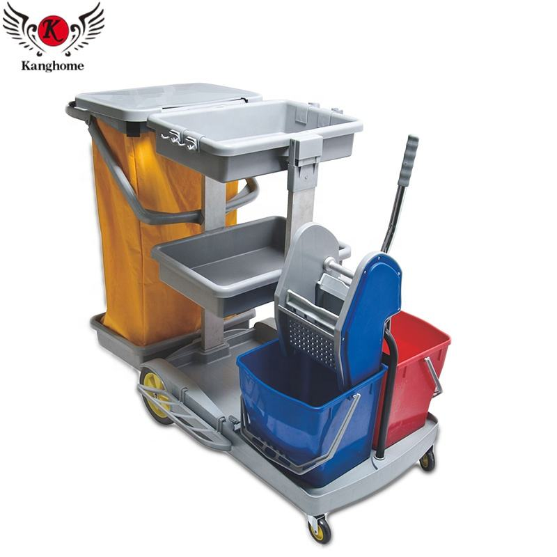 Multi-functional high quality plastic housekeeping cleaning cart trolley equipped with mop bucket and squeeze device