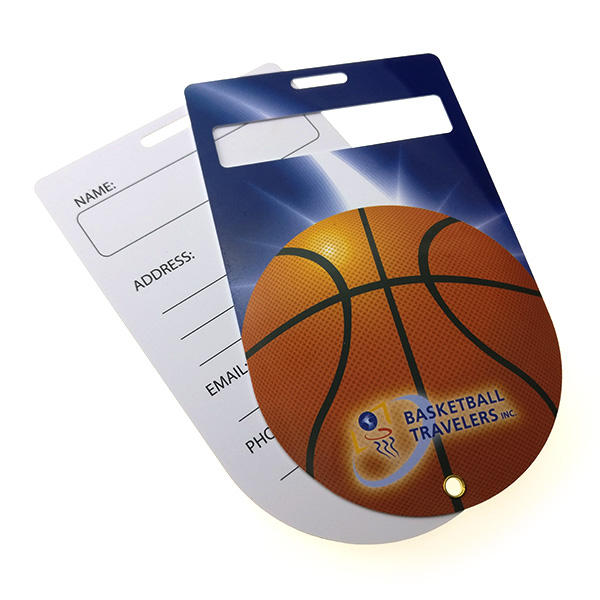 free sample personalized pvc basketball luggage tag