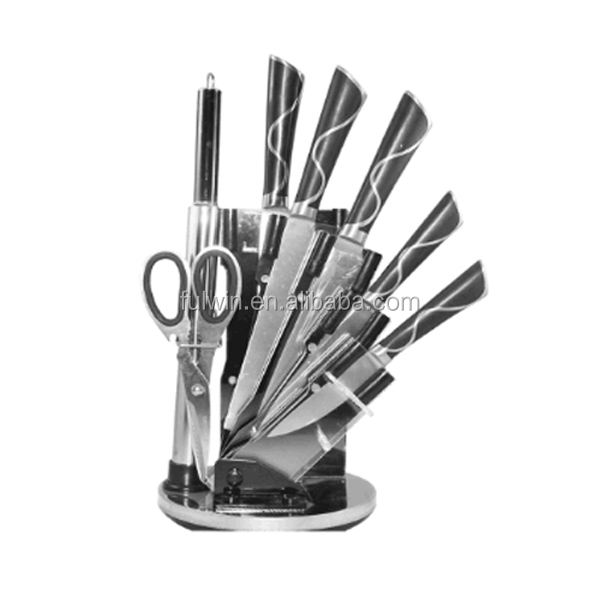 elegant black handle 7pcs knife set