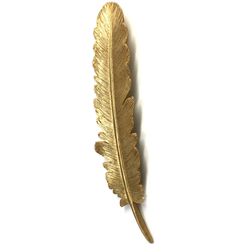 Resin Gold Feather Wall Decoration Sculpture For Home