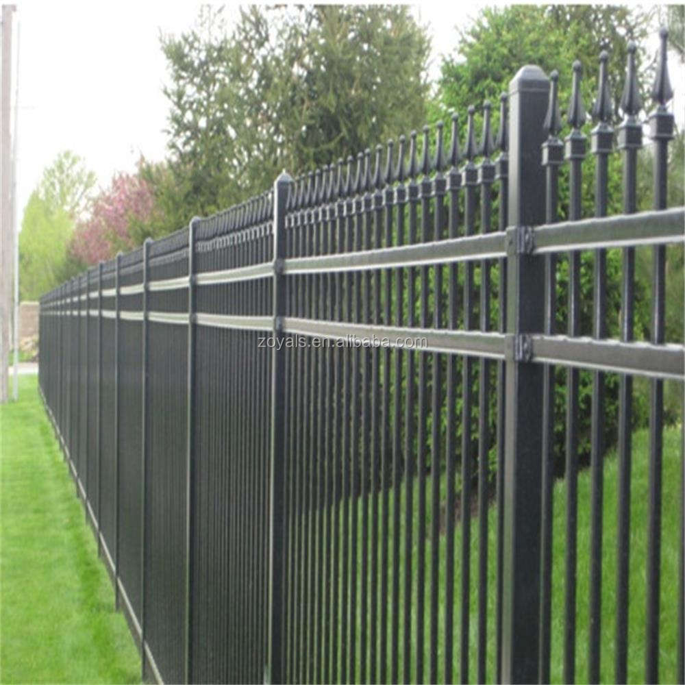 Ornamental modern metal used iron fencing powder coated welded metal fences panels tubular steel picket fence