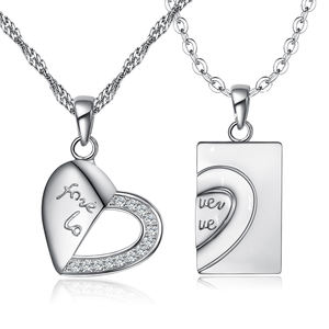 Fashion Forever love Heart-shaped puzzle couple necklace silver heart necklace
