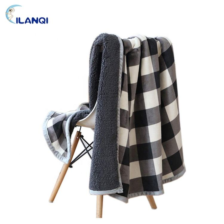 OEM Accept Soft Comfortable Claiming Black And White Plaid Popular Thick Print Flannel And Sherpa Fleece Double Throw Blanket