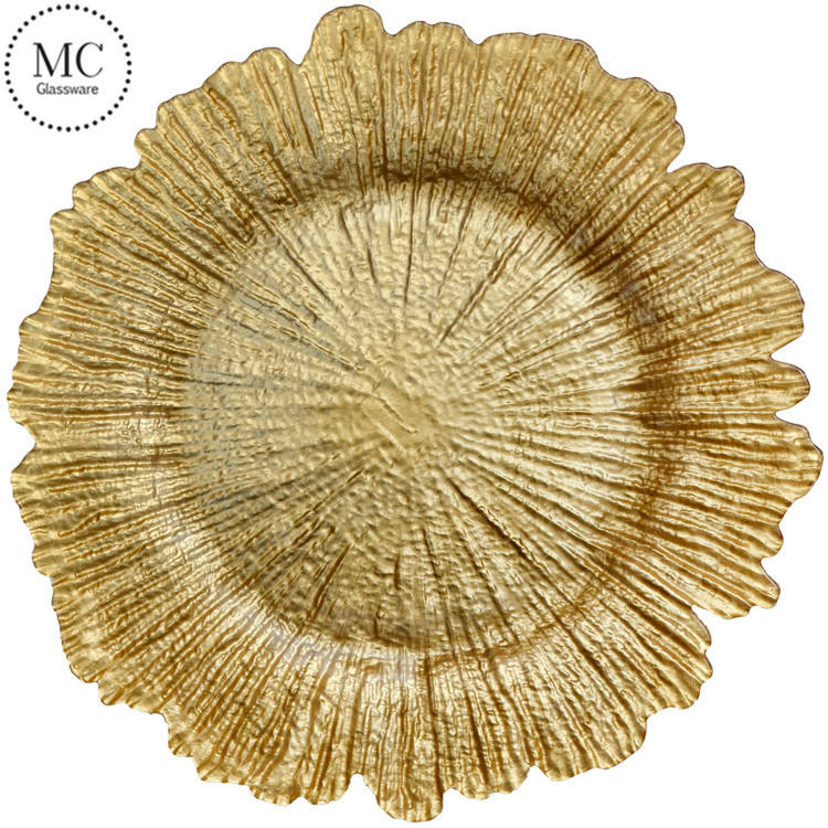 Wholesale wedding reef glass gold charger plates
