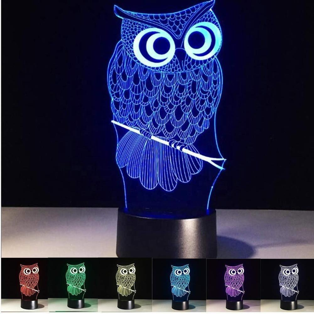Owl Kids Light Night Touchable Switch 7 Color Changing Acrylic Panel 3D Illusion Cartoon Owl Kids LED Light Night