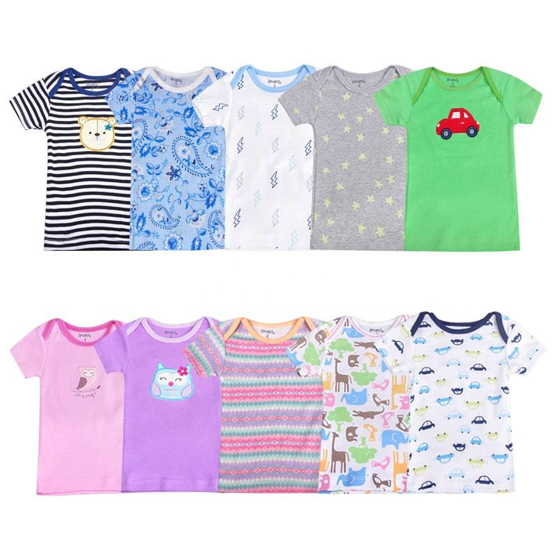 5 Pieces Pack Random Design More Soft 100% Cotton Short Sleeve Baby T Shirt