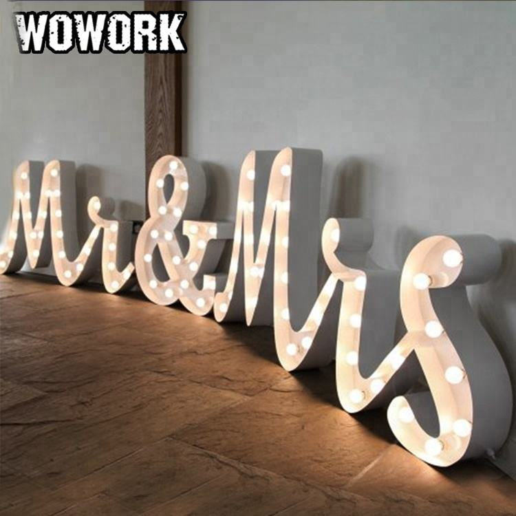WOWORK direct factory LED wedding initial letter MR and MRS light for photo booth