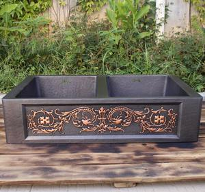 Handmade oil rubbed bronze patina copper kitchen/farmhouse sink with double bowl