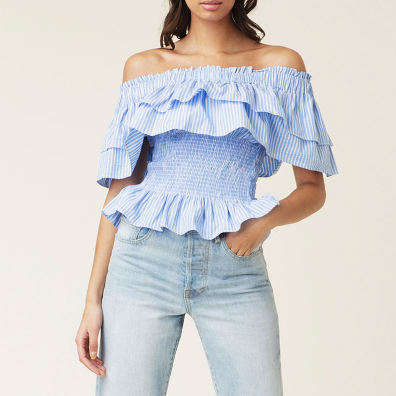 Custom Ladies tops Women's Clothing Casual Blouse Ruffle Off The Shoulder Sexy Tops