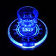 cheap sale acrylic blue color plastic brand logo print led light coaster for night club