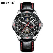 BOYZHE 2019 Top Swiss New design High quality custom logo self- winding Waterproof modern mechanical men watch