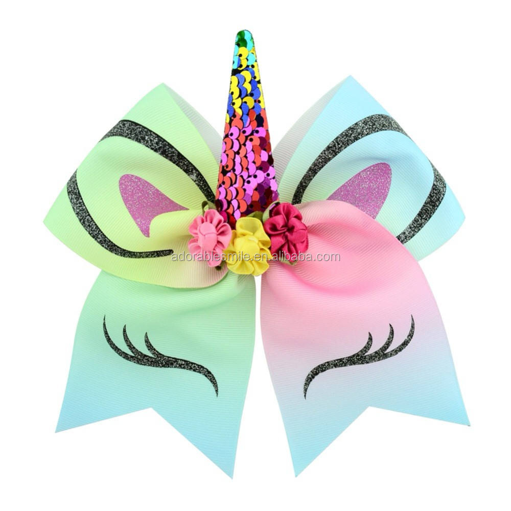 "Hign Qualità Cheerleader Cheer Bow 7 ""Arcobaleno Unicorn Fascia Elastica Cheer Bow da Erin Birra"