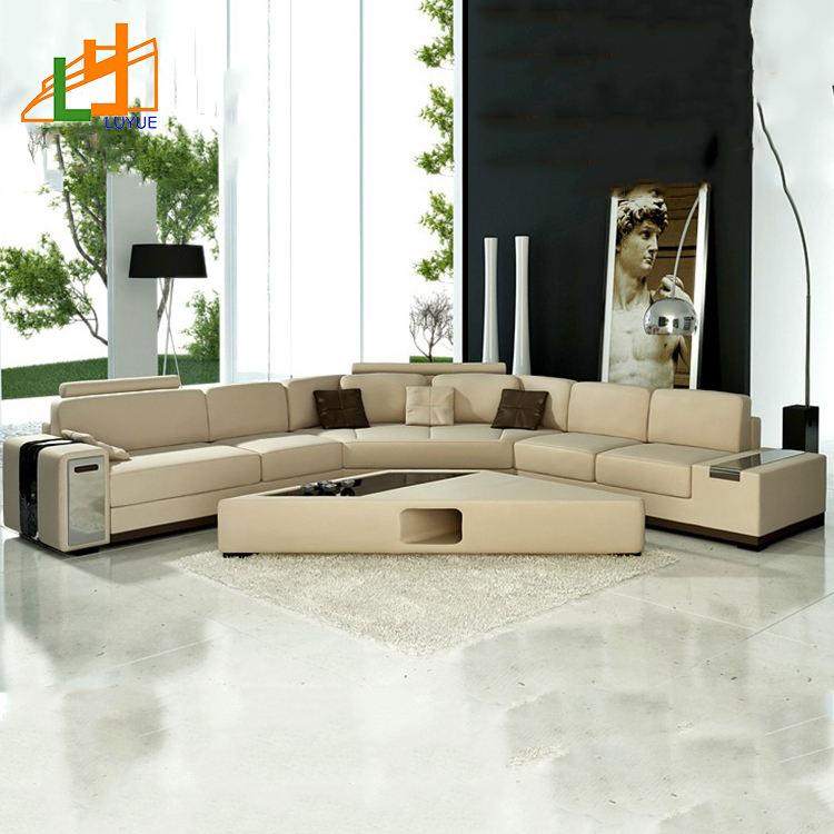 Entrega rápida salón sofá muebles nuevos diseños en forma de l marco de madera sofá moderno conjunto