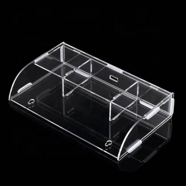 Wall Mounted Transparent Acrylic Remote Control Bin Storage Rack Phone Holder