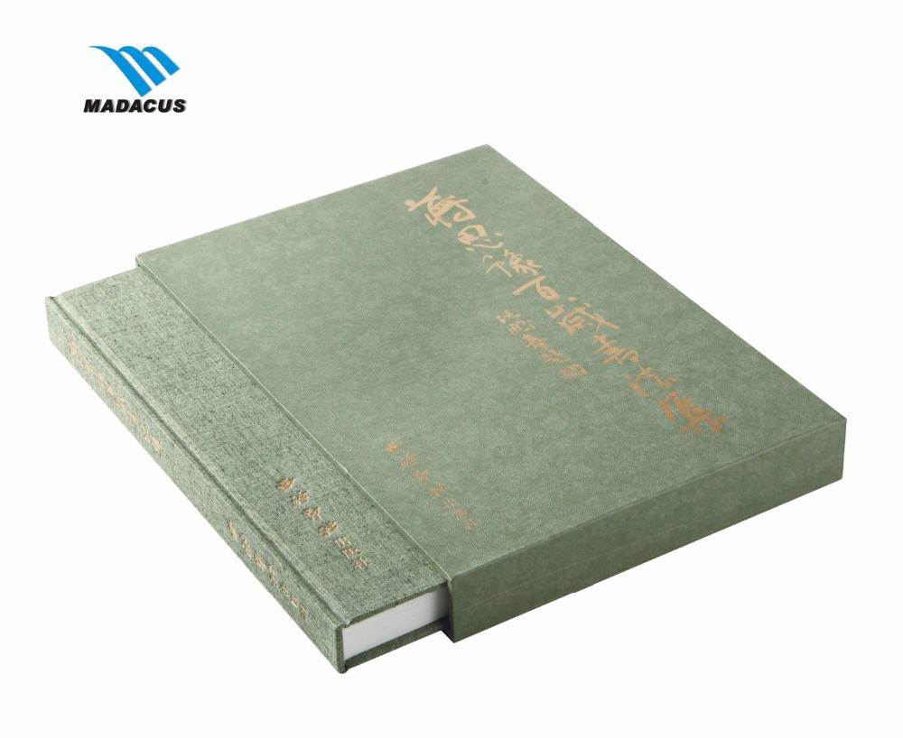 High class hard cover slip case bound book printing