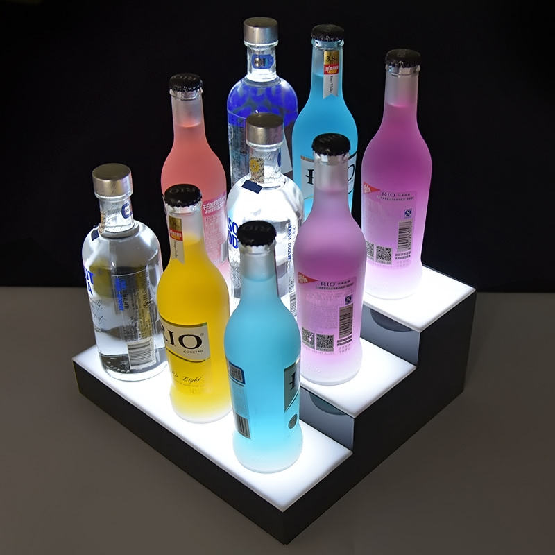 Big city barware plant customize new beer acrylic display cabinet acrylic stairs display led bottle display