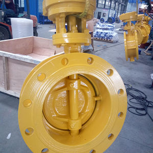 DN200 8inch 1.6Mpa flanged double eccentric resilient seal butterfly valve with gear drive