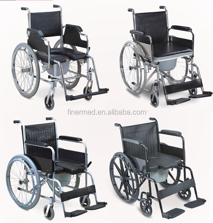 manual medical fold Transport Commode Wheel Chair with bedpan