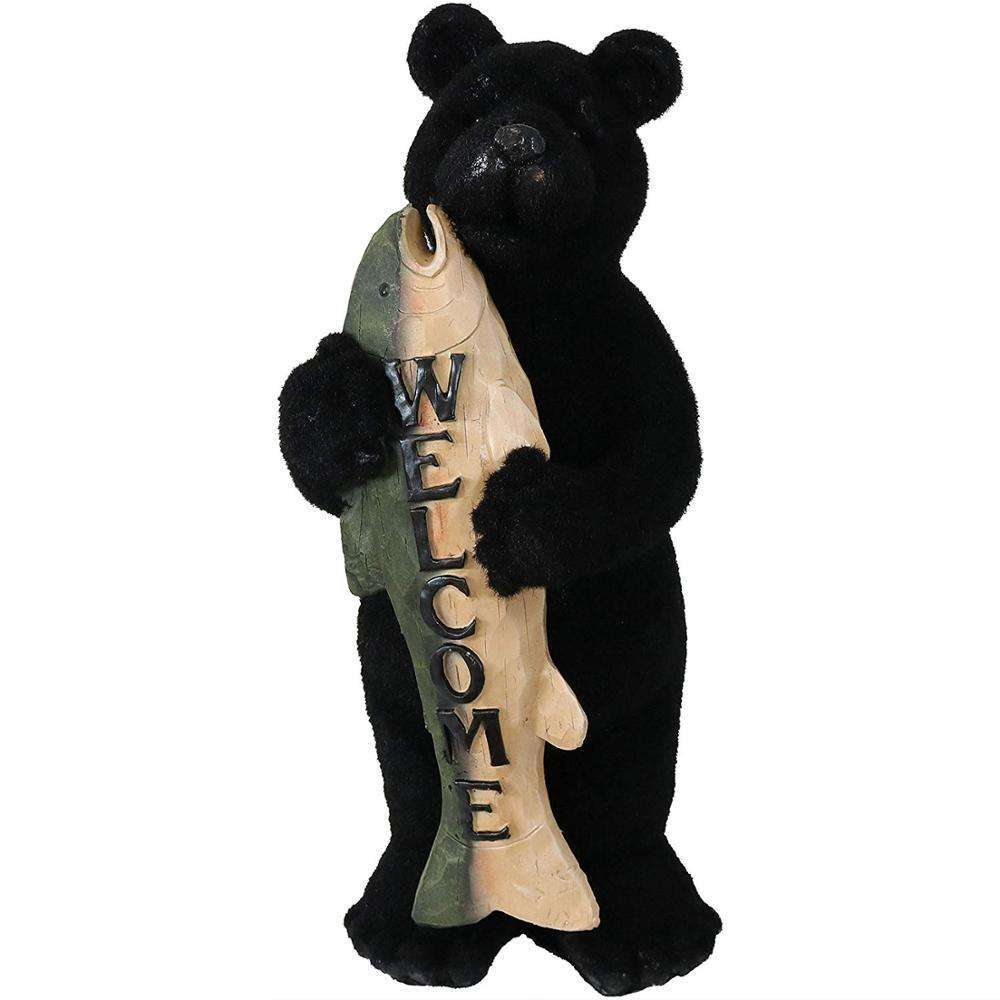 Unique Welcome Statue Rustic Decorative Bears With Fish Indoor Outdoor Table Resin Sculpture Decorations
