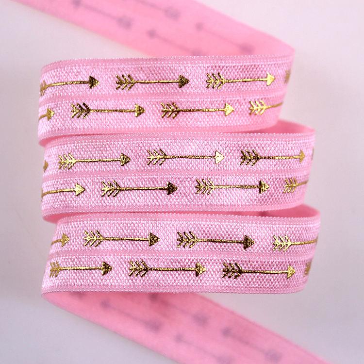 Nuovo design di san valentino fold negli elastico stampa cuore con freccia #175 rosa shocking foil foe ribbon fornire il servizi