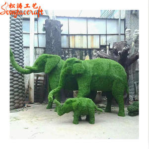 Metalen Draad Frame Kunstmatige Gras Olifant Topiary Cutter Dieren Plant