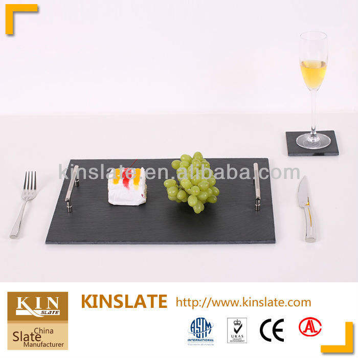 2 Large slate plate platter placemats cheeseboard trivet 50 by 37cm-Xmas Gift