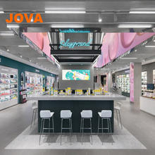 Cosmetics flagship store display units Modern wooden glass display design cosmetic showcase