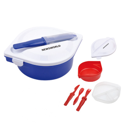 Cheap and custom red PP material dual lunch box food case with a knife and fork combination