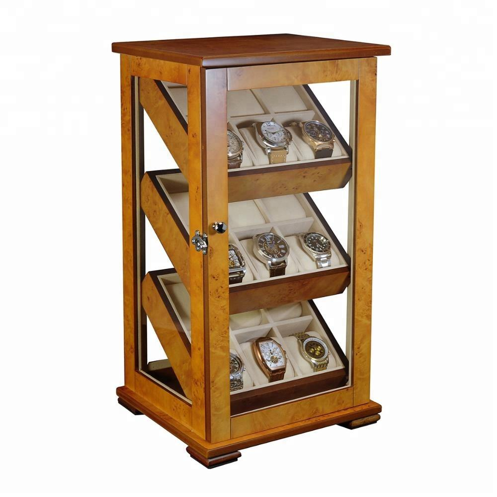 18 Slots Wooden Watch Cabinet