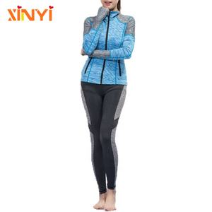 Wholesale Activewear Womens Sportswear Jacket and Pants Set Breathable Fabric Full Length Fitness Set
