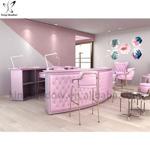 Kingshadow Long clou barre station rose ongles tables double table de manucure
