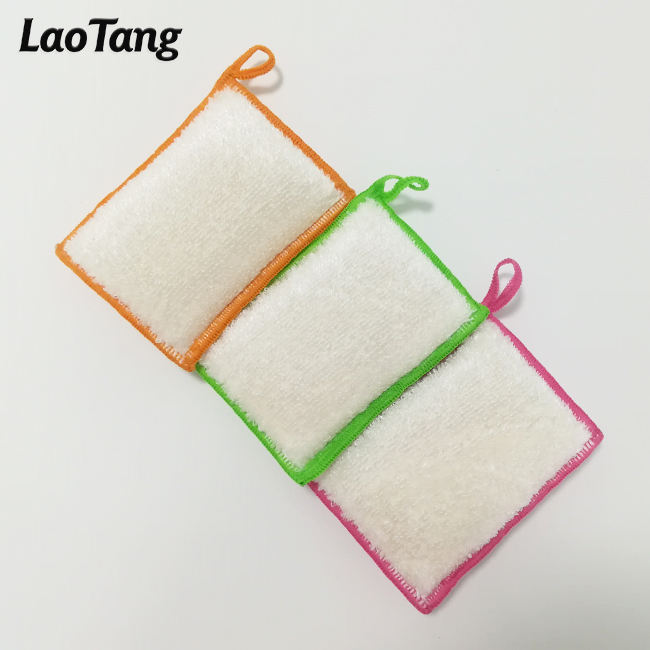 Detergent Free Durable Bamboo Cellulose Kitchen Dish Cleaning Biodegradable Sponges Dishing Scouring Pads