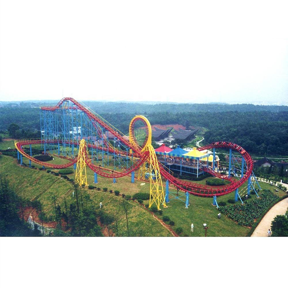 500 m long 25.2m high Middle Three Rings Thrill Super Roller Coaster for sale in China
