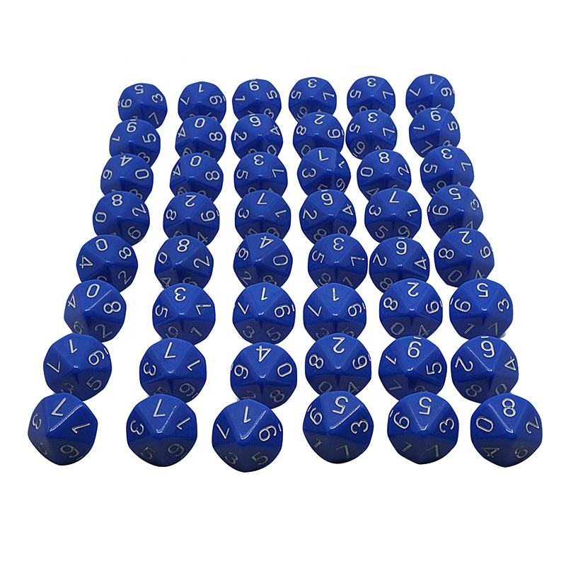 Opaque Blue with White - Acrylic Ten Sided Dice Polyhedral Game D10 Set