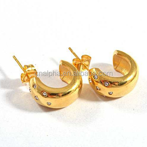 Grosir perhiasan imitasi, model anting-anting emas, 18 k warna emas indian big hoop earrings RE27