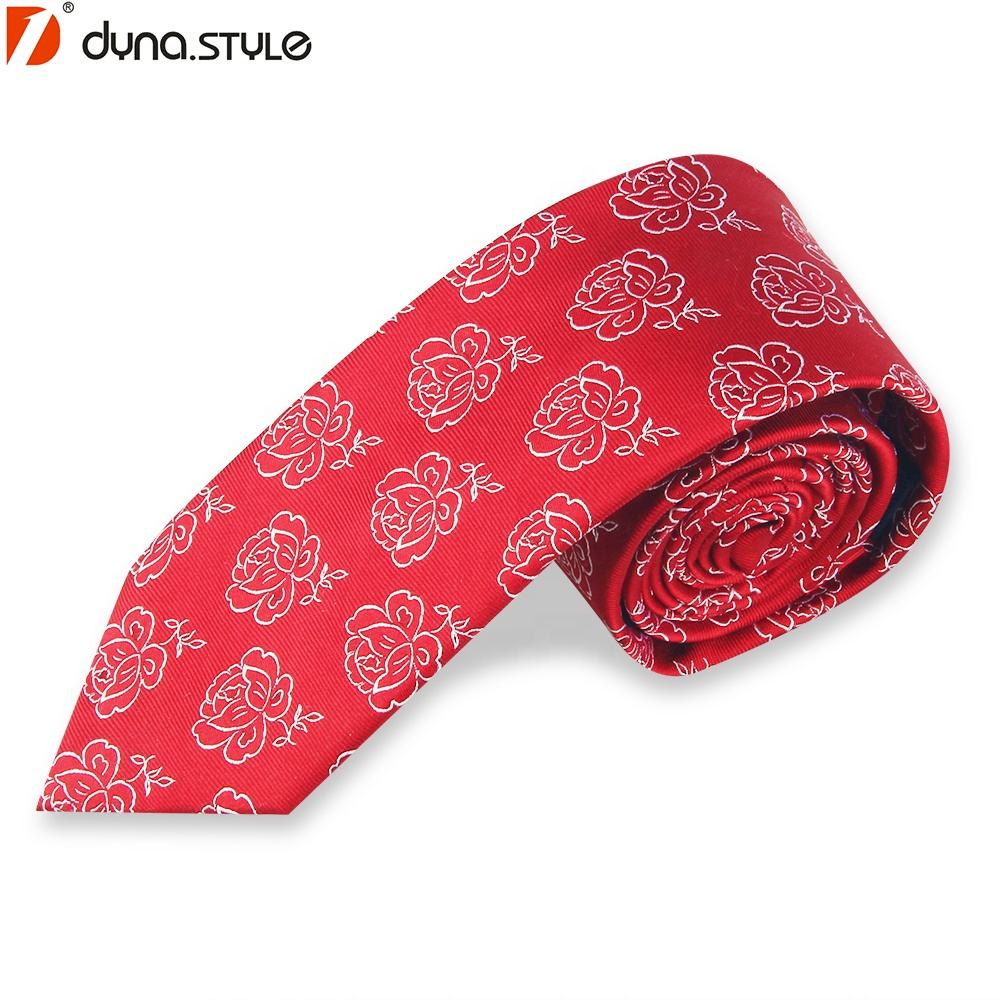 Polyester Red Tie for Wedding Ceremony Party Tuxedo