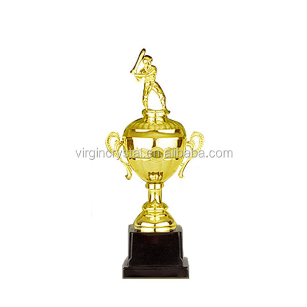 Gold Plated Metal Cricket Trophy with Base Logo Customized for Sport