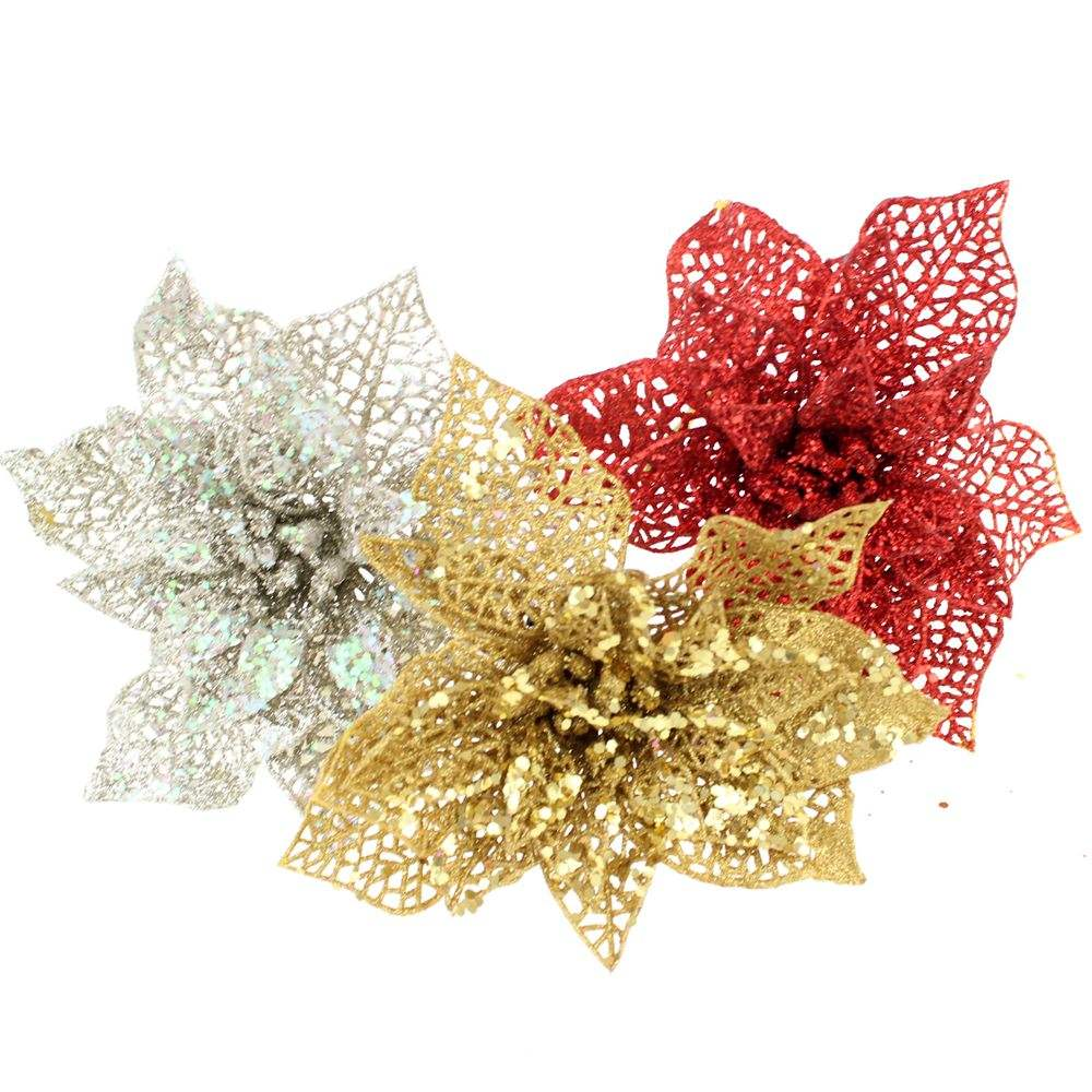 Wholesale#51390 Xmas hollow poinsettia flowers stem with glitter for Christmas wreath tree ornaments Glitter Xmas flower