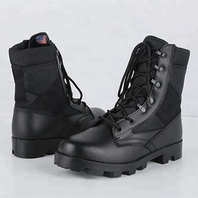 Phylon Sole Cemented Construction Black Army Combat Boots Police Uniform Shoes