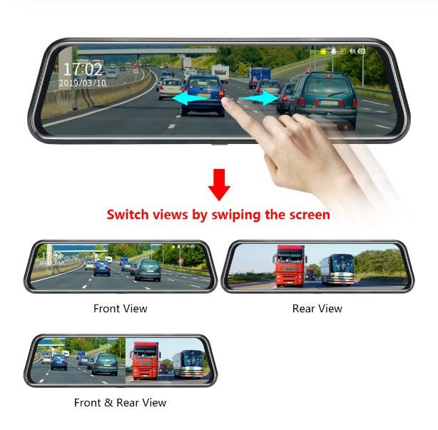 Streaming video 10'' inch touch screen rearview dash cam dvr car mirror camera