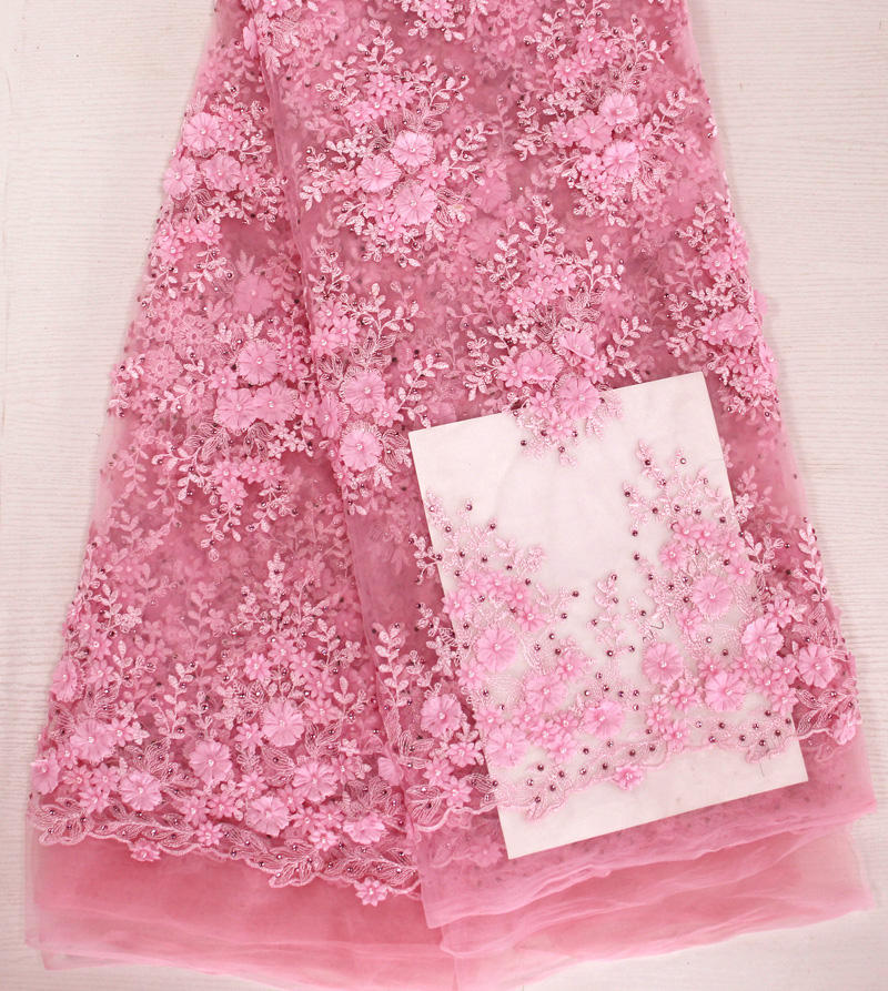 Paris Fashion show beaded 3D flower Lace Fabric luxury pink party dress heavy Embroidery