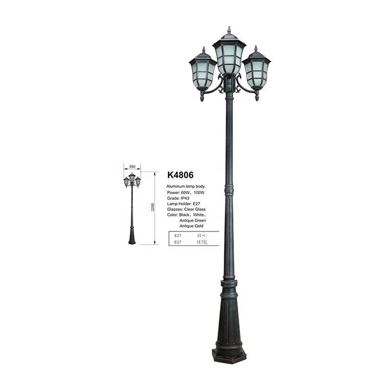 Post lamp three head lantern pole lighting home front design walkway street energy saving outdoor comely post light