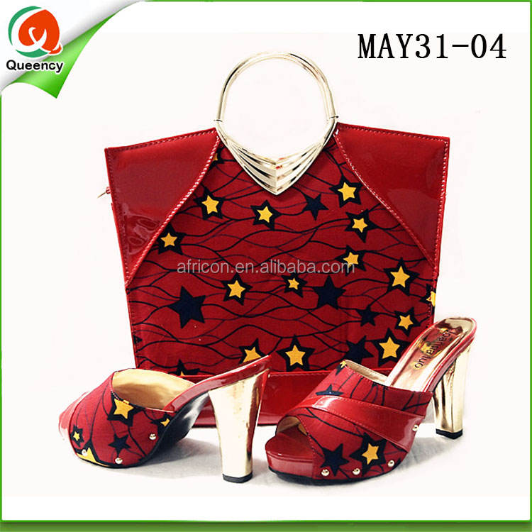 african wax printed fabric women high heel dress shoes italian women shoes and clutch bag to match