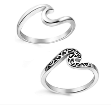 Stainless Steel Beach Rings for Women Girls Ocean Wave Ring