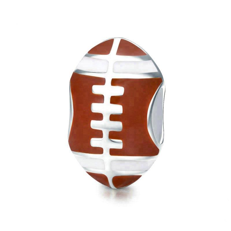 Sterling Silver 3D Brown Enameled Football 16 mm 11 mm Brown Pendants /& Charms Jewelry